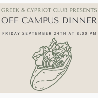 Greek Cypriot Club Off-Campus Dinner Poster