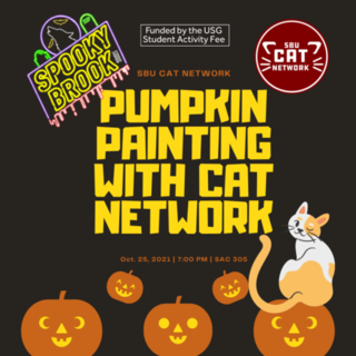 Pumpkin Painting With Cat Network Poster