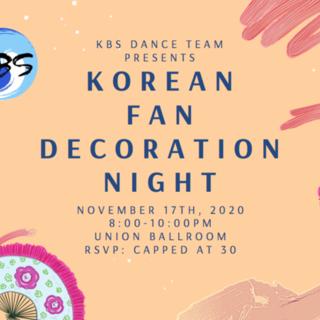 Korean Traditional Fan Decoration Night Poster